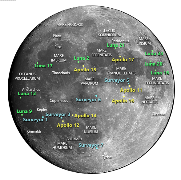 Landing Sites of missions to the Moon - Bob the Alien's ...